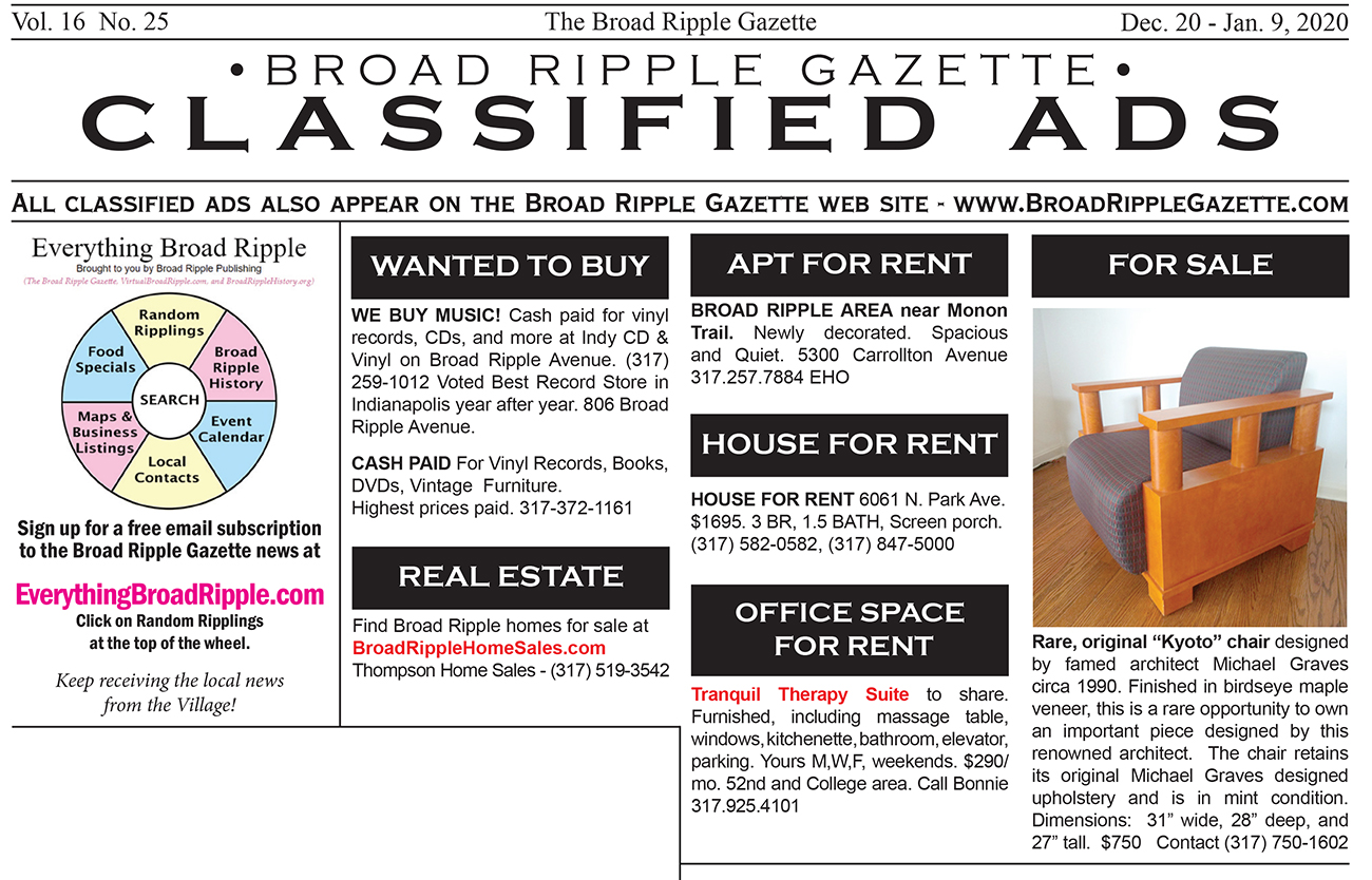 Sf Classified: Broad Ripple Gazette